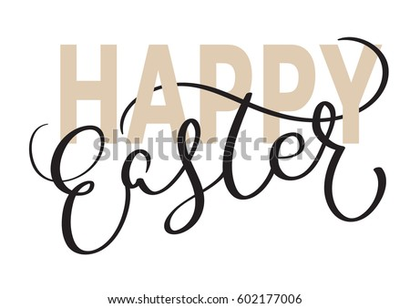 happy easter words on white