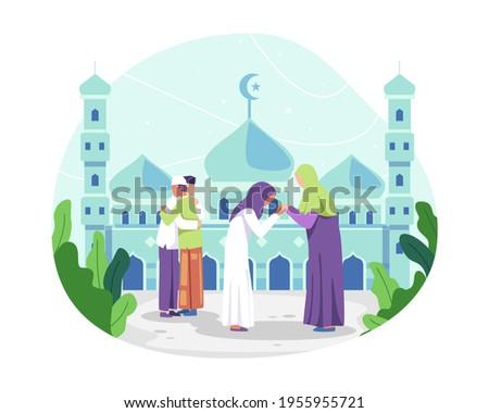 Happy Eid al-fitr illustration. Muslim people celebrating Eid al-fitr, Muslim man hugging and wishing each other. Muslim woman kissing her mother hand, Tradition of Eid al-Fitr. Vector in a flat style
