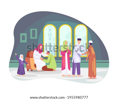 Happy Eid al-fitr. Muslim people celebrating Eid al-fitr, Shaking hands wishing each other. Families gather together, Muslim man kissing her mother hand, Tradition of Eid al-Fitr. Vector in flat style