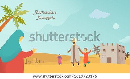 Happy eid mubarak and ramadan concept. Moslem family welcomed the mother illustration design for Header page, UI, Story board, Book Illustration, Banners, Card Invitation and Social media Imagine de stoc ©