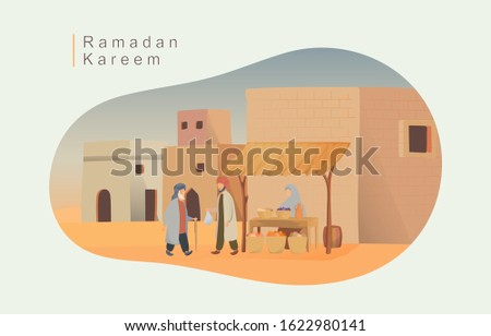 Happy eid mubarak and ramadan concept. people buy food for iftar in the market illustration for Header page, UI, Story board, Book Illustration, Banners, gretting card Imagine de stoc ©