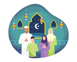 Happy Eid mubarak illustration greeting card. Happy family greeting and celebrating Eid mubarak. Man and his wife doing greeting, Muslim people wishing and greeting Eid al-fitr. Vector in a flat style