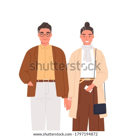 Happy elderly couple holding hands vector flat illustration. Smiling aged man and woman feeling love and tenderness isolated on white. Stylish mature people standing together