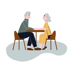 Happy elderly couple sitting in a cafe. Old couple on date. Flat vector illustration.