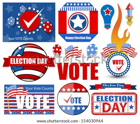 Happy Election Day Vector Illustration Set