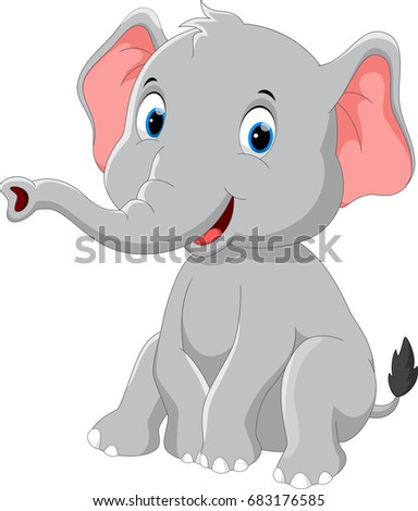 Happy elephant cartoon sitting