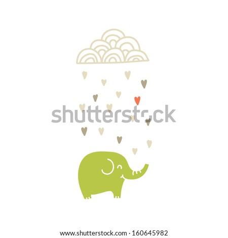 Happy Elephant under raining cloud , vector illustration