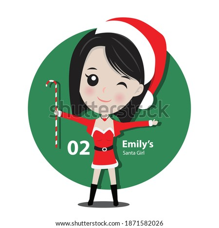 happy emily girl character in