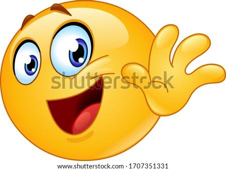 happy emoji emoticon waving