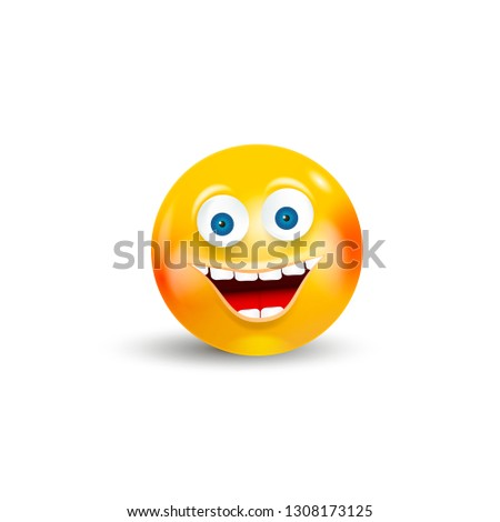 Happy Emoji Kawaii Face isolated on white background. Communication Chat Elements or icon.