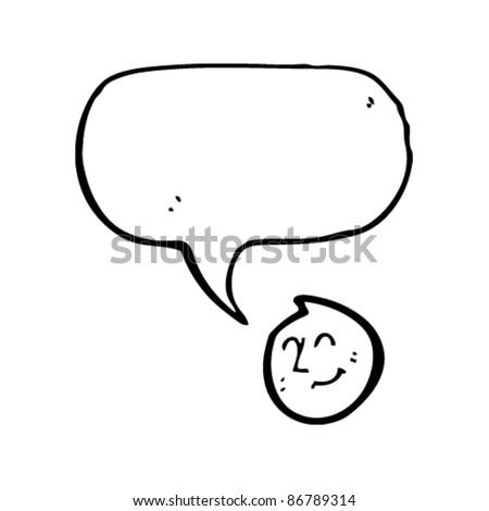 happy emoticon face with speech bubble cartoon