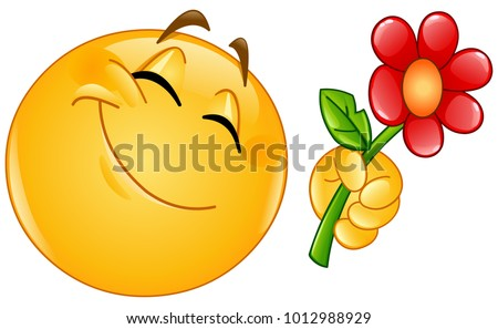 Happy emoticon giving a flower