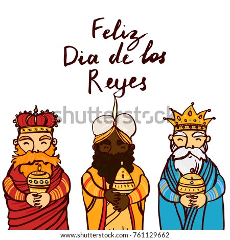 Happy Epiphany day hand drawn celebration greeting card template. Lettering text. Three wise kings man standing and smiling, holding gifts.
