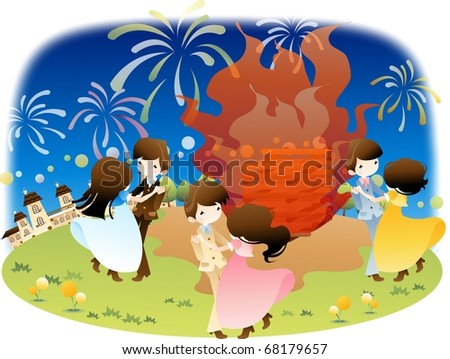 Happy Event with Attractive People - enjoying big party with romantic cute couples on flower garden on a background of beautiful night blue sky : vector illustration
