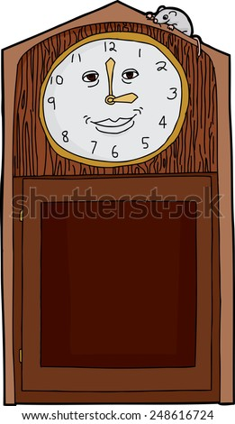 happy face on antique clock