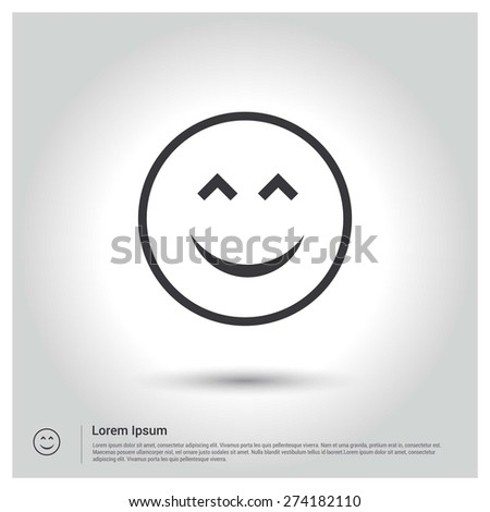 happy face smiley icon  flat