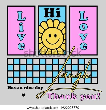 Happy Face Vector Art Illustration. Dripping Smile Flower Icon. Fashion Illustration. 90's Slogan T shirt print design.