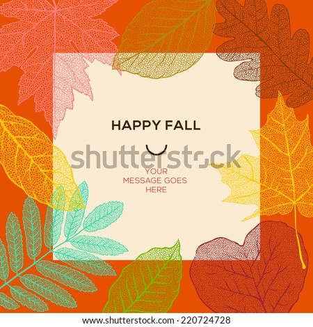 Happy fall template with autumn dry leaves and simple text, vector illustration.