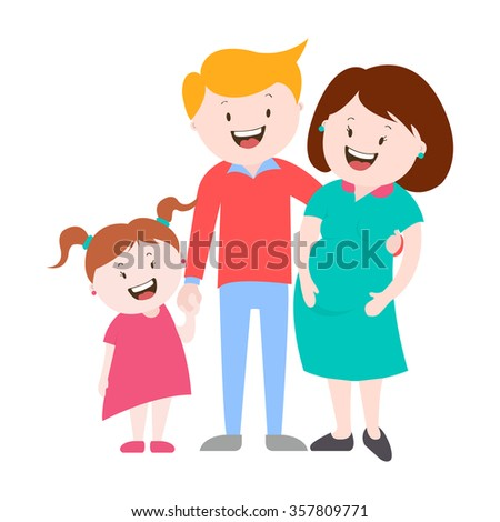happy family , a pregnant woman , vector graphics