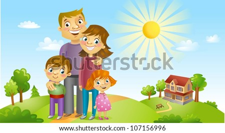 Happy family against a landscape and the house - stock vector