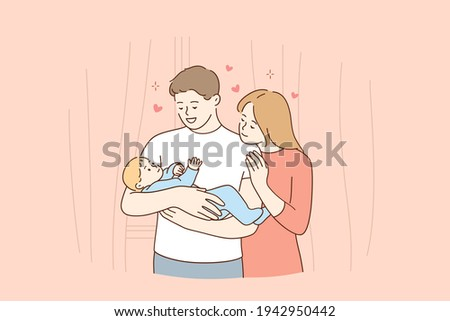 Happy family and childhood concept. Young smiling parents mother and father family standing and holding small toddler infant newborn baby in hands feeling love and happiness vector illustration
