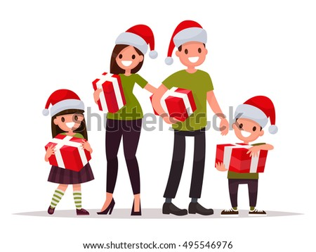 happy family at christmas with