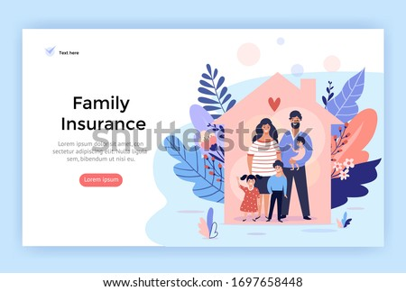 Happy family at home, insurance services concept illustration,  perfect for web design, banner, mobile app, landing page, vector flat design