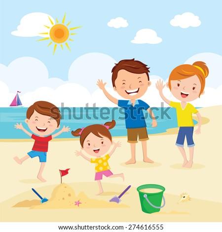 Happy family at the beach. Family having fun at the beach.