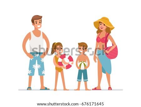 happy family at the beach flat