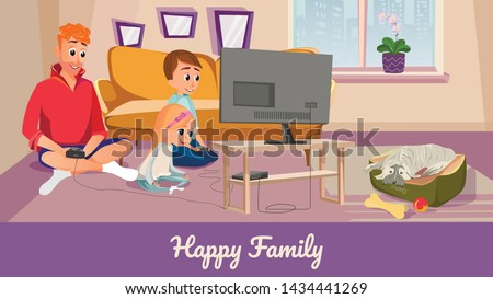 happy family banner cartoon