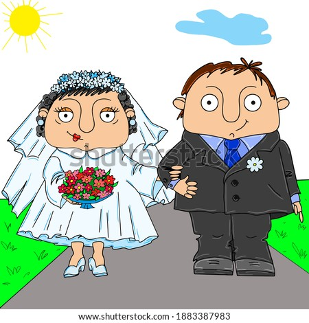 happy family bride and groom wedding newlyweds Valentine's day Photo stock ©