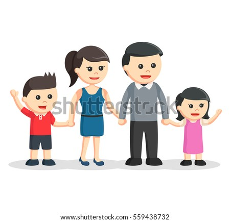 happy family color illustration
