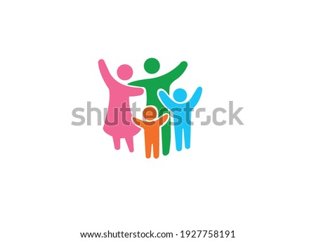 Happy family concept. Family Flat Icon, Family members in pink, green, orange, blue colors. Nuclear family concept.