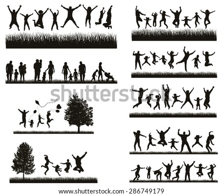 Happy Family . Conceptual background. Set of Men's, Women's and Children Silhouettes.  Active People on the Party and Nature. stock photo