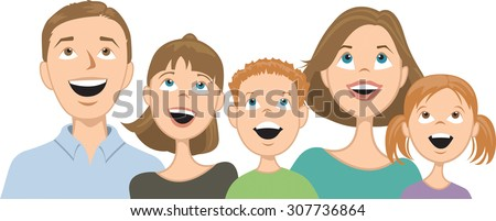 Happy family consisting of mother, father and three children, all looking up. Individual characters grouped for easy removal, relocating. Vector illustration
