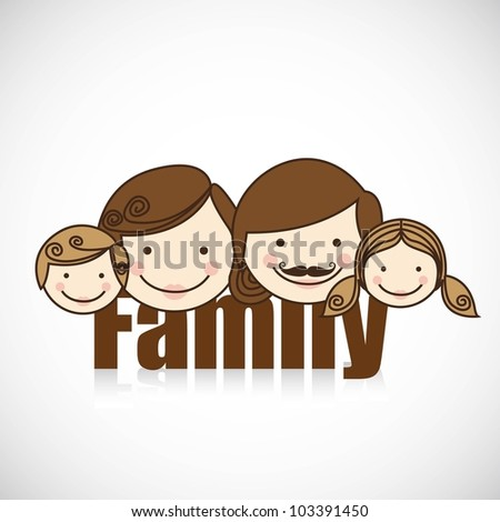 happy family consists of father, mother, girl and boy