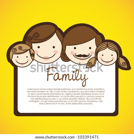 happy family consists of father, mother, girl and boy - stock vector