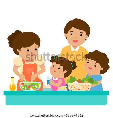 Happy family cook healthy food together cartoon vector illustration. Father mother son and daughter.