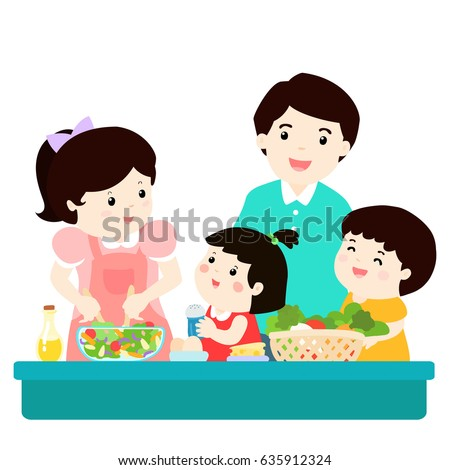 Happy family cook healthy food together cartoon vector illustration.Father mother son and daughter.