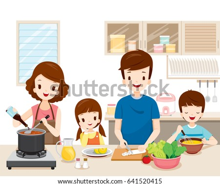 Happy Family Cooking Food In The Kitchen Together Kitchenware Crockery House Home