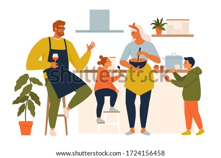 Happy family cooking. Mother and father with kids cook dishes in kitchen cartoon vector illustration. Family cooking mother, son, daughter and father on kitchen.