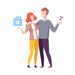 Happy Family Couple Bought New House, People Buying or Renting Real Estate Vector Illustration