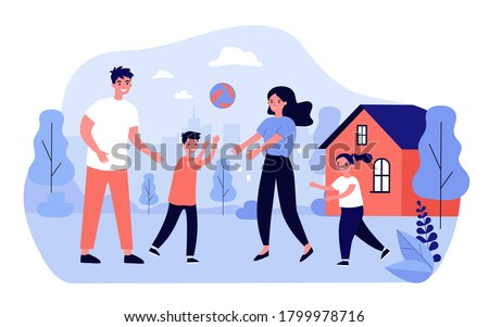 Happy family couple enjoying outdoor activity with kids. Active parents and children playing ball together on backyard of house. For sport, healthy lifestyle, leisure time in summer concepts