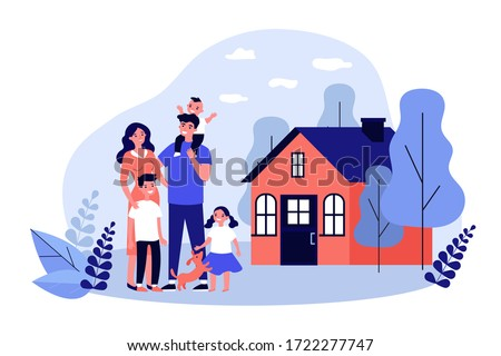 Happy family couple with kids and pet standing together outside, in front of their house. Vector illustration for home, real estate, residential area concept Foto stock ©