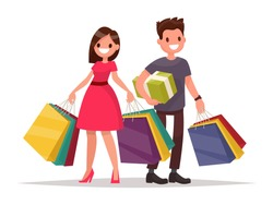 Happy family couple with shopping. Man and woman with bags. Big Sale. Vector illustration of a flat design