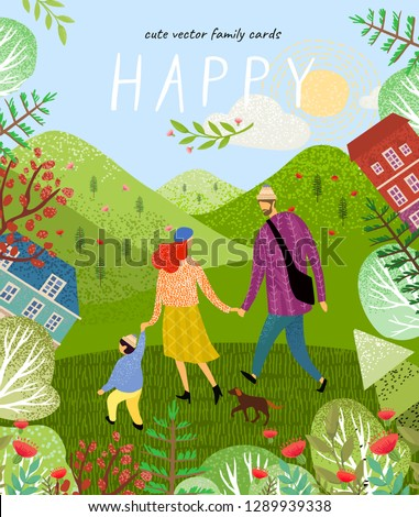 happy family. Cute vector poster, card or cover with an illustration of a father, mother and newborn baby on a background of green nature, mountains and forest landscape with flowers