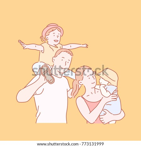 Happy family Dad, Mom and Cute Children hand drawn style vector doodle design illustrations.