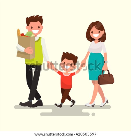 Happy family. Dad mom and son are going home. Vector illustration of a flat design