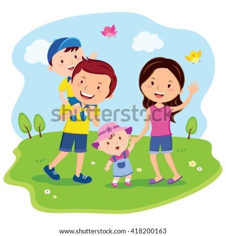 Happy family day. Cheerful family outing, fun in the sunny day!