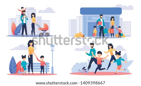 Happy Family Day Off Cartoon Illustration Set. Mother, Father and Children Walking in Park or City Street, Shopping at Mall and Running with Dog. Active Time, Recreation Outdoor. Vector Flat Cartoon